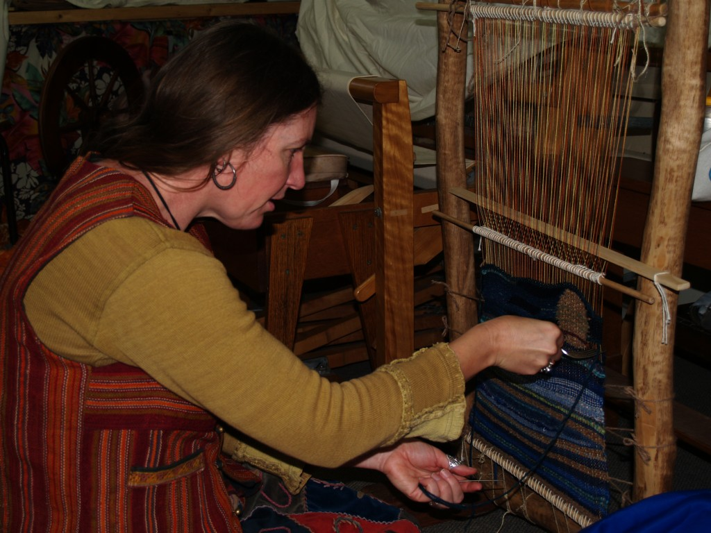 Rachel Weaving on her Navajo Loom