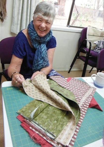 Beverley choosing fabric