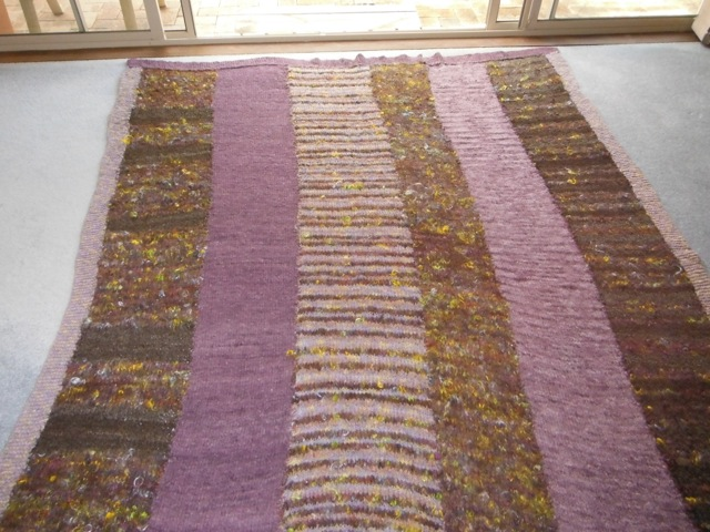 Lyn's knitted purple rug
