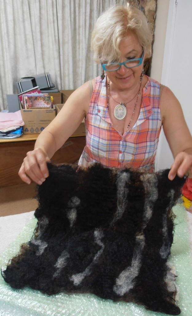 Kate felting her dog fur