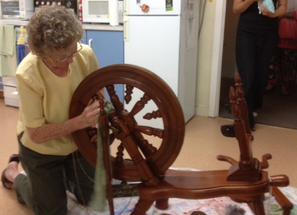 Bev cleaning Karen's Spinning Wheel