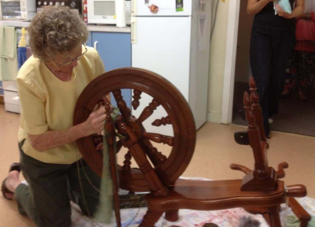 Bev cleaning Karen's Spinning Wheel