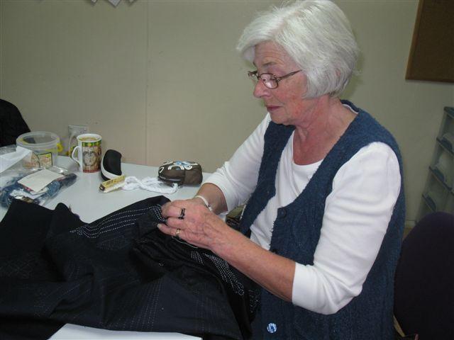 Fi sewing a sashiko panel