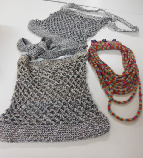 Beth's crocheted bags and icord necklace