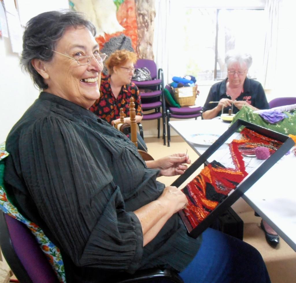 Eileen weaving